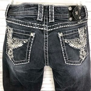 Miss Me Bling Wing Crystal Studded Jeans 32 x 29.5